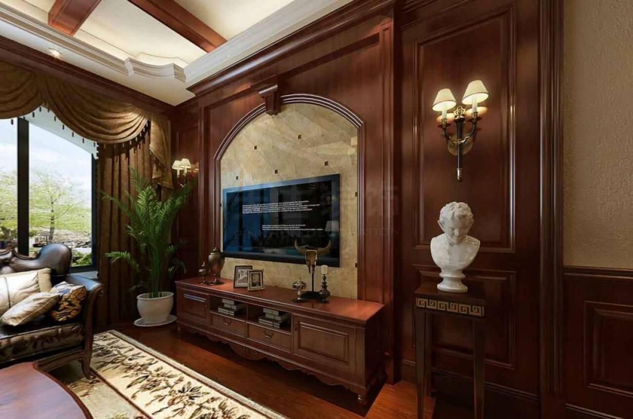 167㎡跃层欧式风格客厅背景墙装修效果图-欧式风格电视柜图片