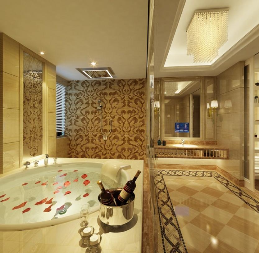欧式风格浴室吊顶装修效果图-欧式风格壁灯图片