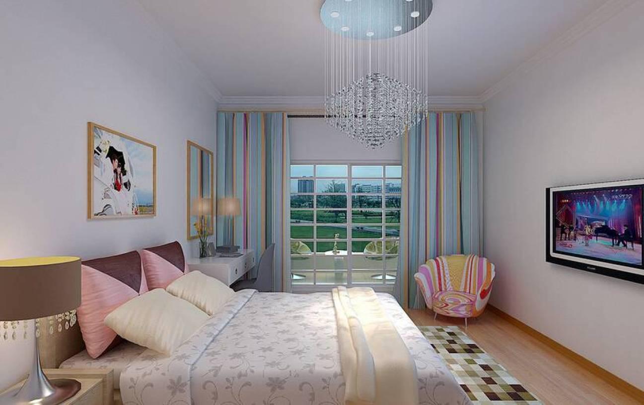 简约风格卧室阳台装修效果图-简约风格双人床图片