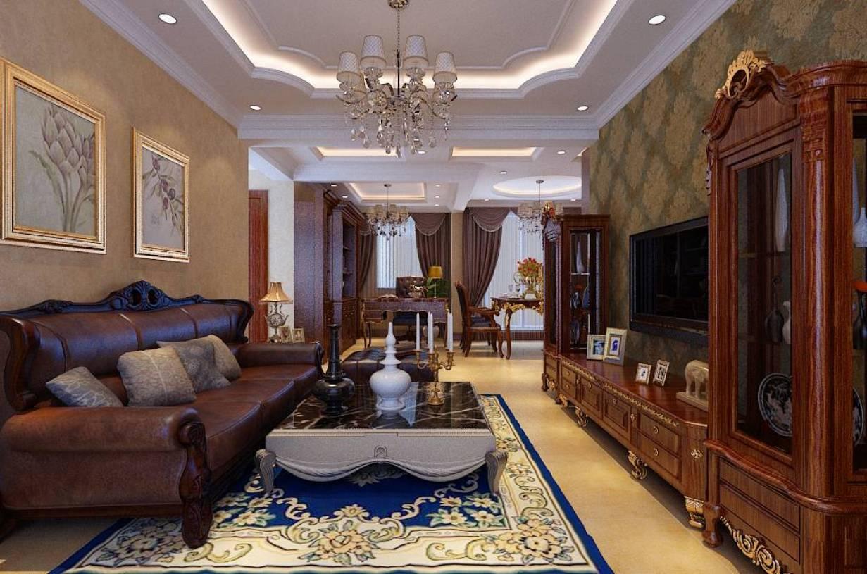 110㎡三室两厅一卫美式风格客厅吊顶装修效果图-美式风格茶几图片