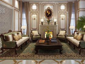 欧式复古大居室低调奢华装修效果图