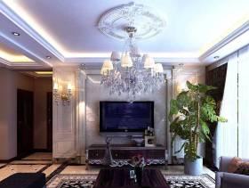 142㎡三居欧式风格客厅电视背景墙装修效果图-欧式风格电视柜图片