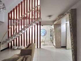 204㎡简约风格复式公寓客厅复式楼梯装修效果图-简约风格沙发图片