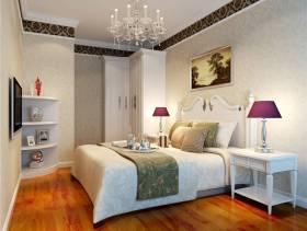 卧室白色背景墙壁纸装修效果图