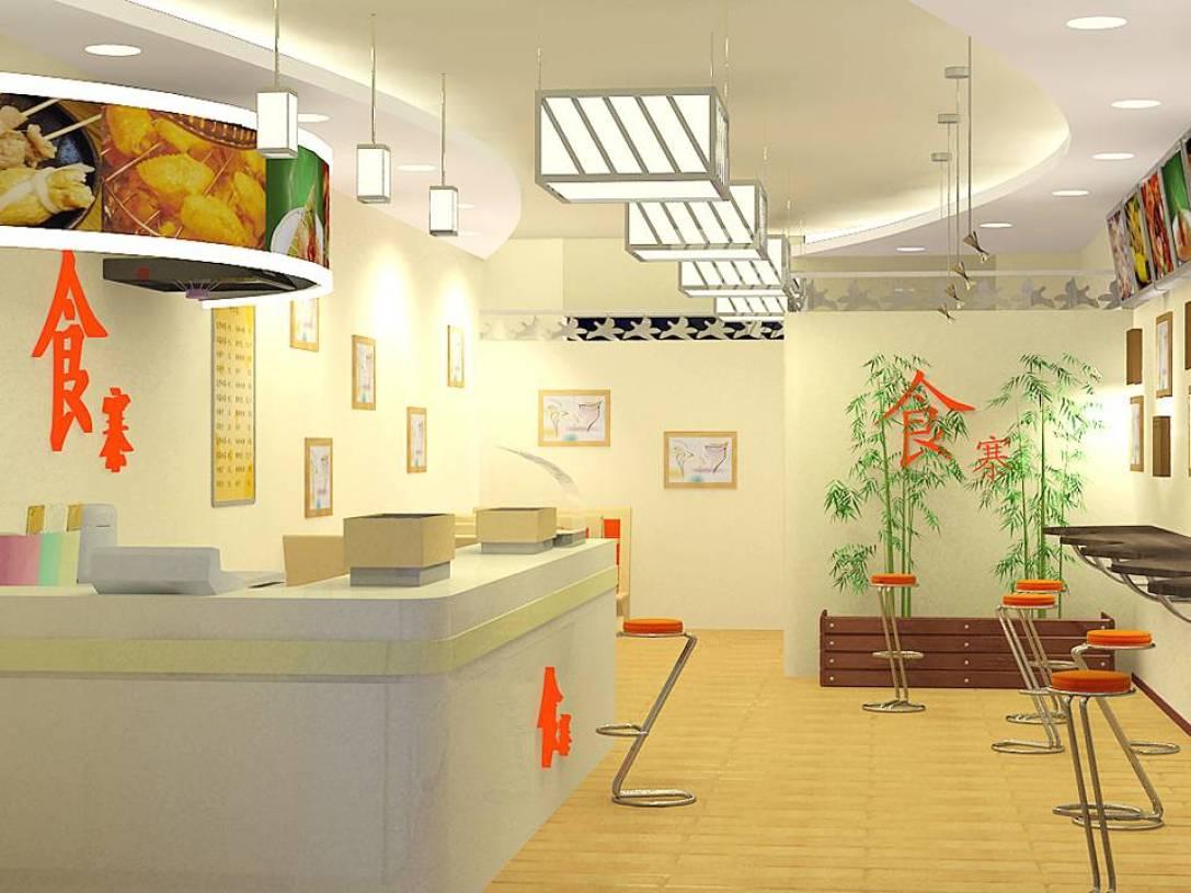 现代风格小吃店吊顶装修效果图-现代风格椅凳图片