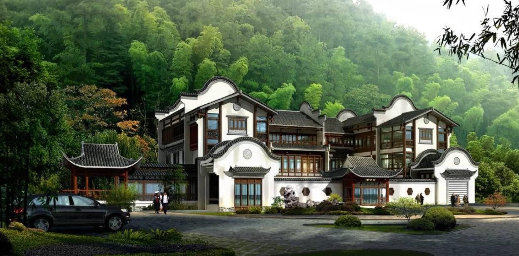 中式风格四合院别墅户外效果图