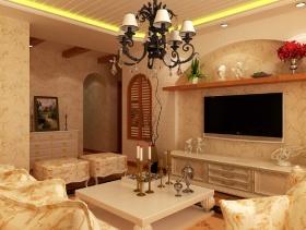 120m²三居室田园风格客厅电视背景墙装修效果图-田园风格电视柜图片