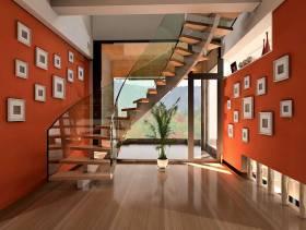 148㎡复式楼现代简约风格楼道背景墙装修效果图-现代简约风格楼梯图片