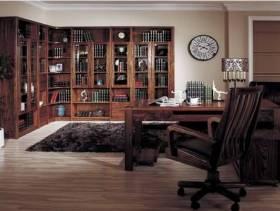 中式风格书房檀木转角书柜图片