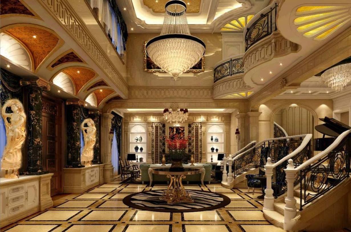 欧式别墅客厅地面拼花装修效果图-欧式风格家居摆件图片图片