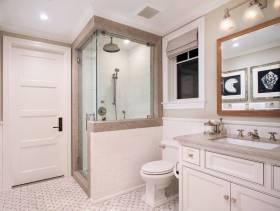 简欧风格小户型卫生间淋浴房装修效果图-简欧风格浴室柜图片