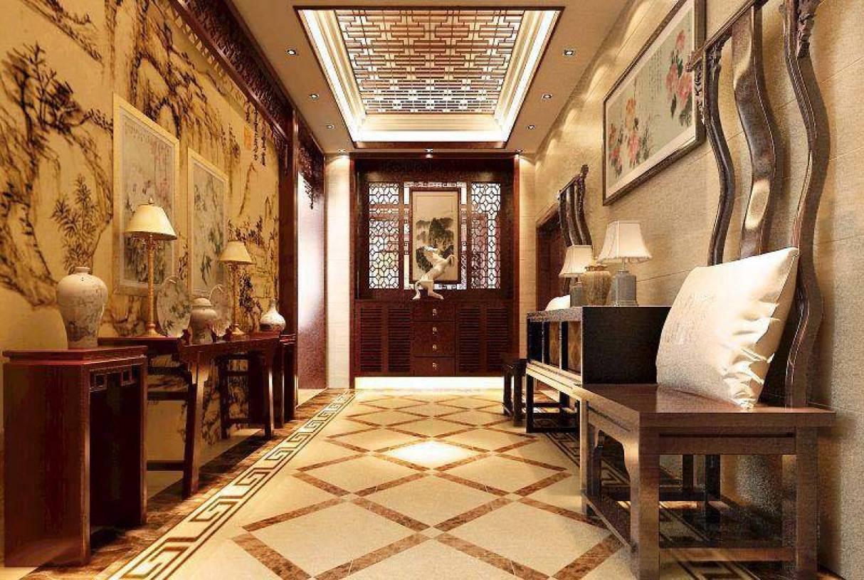 新中式风格别墅入户玄关装修图片-新中式风格端景台图片