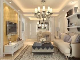 68m²二室二厅欧式风格客厅电视背景墙装修效果图-欧式风格双人沙发图片