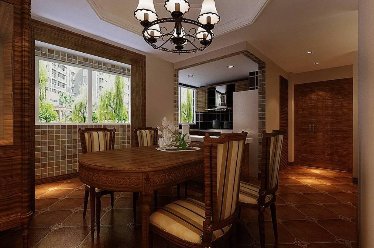 美式户型餐厅乡村吊顶装修效果图,美式风格别墅餐桌椅泉乡村香山御图别墅图片