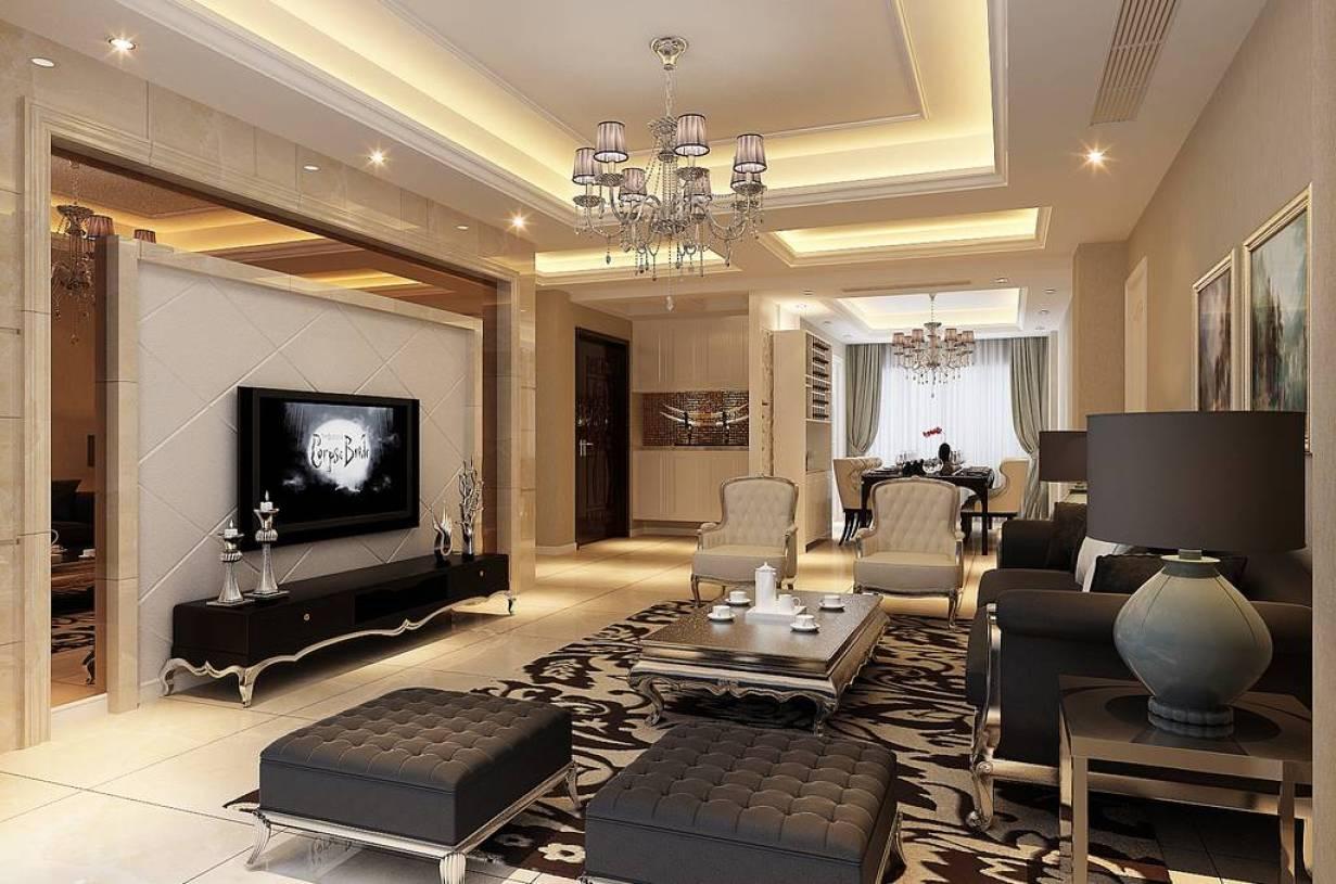 雅居大户型客厅白色电视背景墙装修效果图