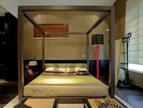 新中式风格卧室背景墙装修图片-新中式风格床图片