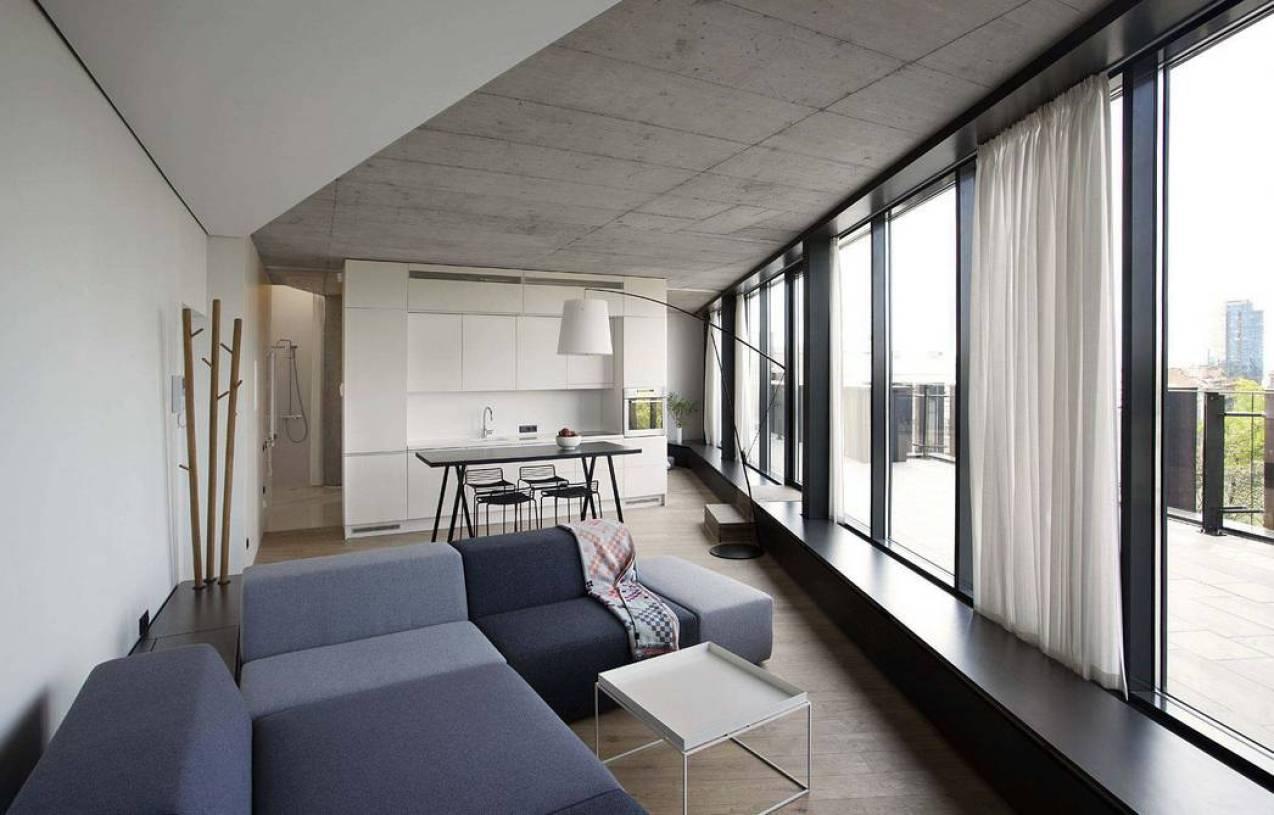 极简风格loft公寓阳台厨房吊顶装修图片-极简风格阳台