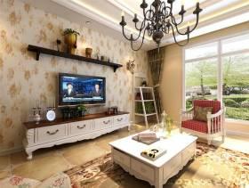96㎡二居韩式田园风格客厅电视背景墙装修效果图-韩式田园风格电视柜图片
