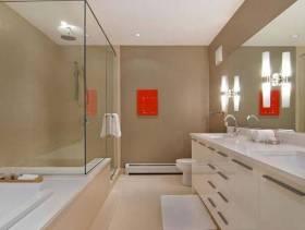 现代风格卫生间玻璃隔断装修效果图-现代风格卫浴柜图片