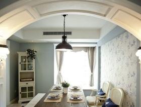 105m²三居室田园风格餐厅吊顶装修图片-田园风格酒柜图片