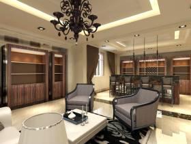 新古典风格别墅地下室起居室兼酒吧区效果,新古典沙发图片