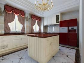 250㎡别墅简欧风格厨房装修效果图-简欧风格整体橱柜图片
