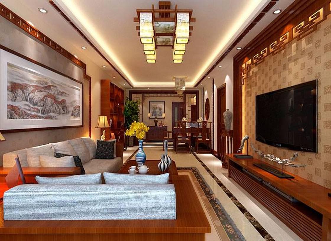 一厅两卫一厨新中式风格客厅背景墙装修效果图-新中式风格吊灯图片