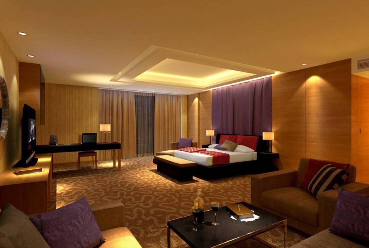 现代风格图片吊顶装修效果图-现代旅店床尾凳天道墙纸风格为勤图片