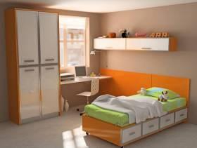 现代简约风格12平方米儿童房装修图片-现代简约风格榻榻米床图片