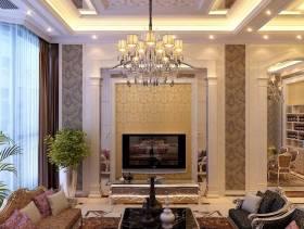 欧式别墅客厅电视墙设计效果图