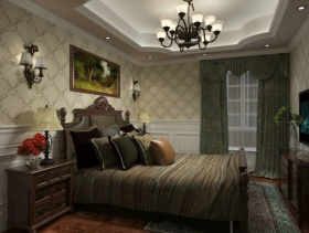 美式风格卧室背景墙装修效果图-美式风格床图片