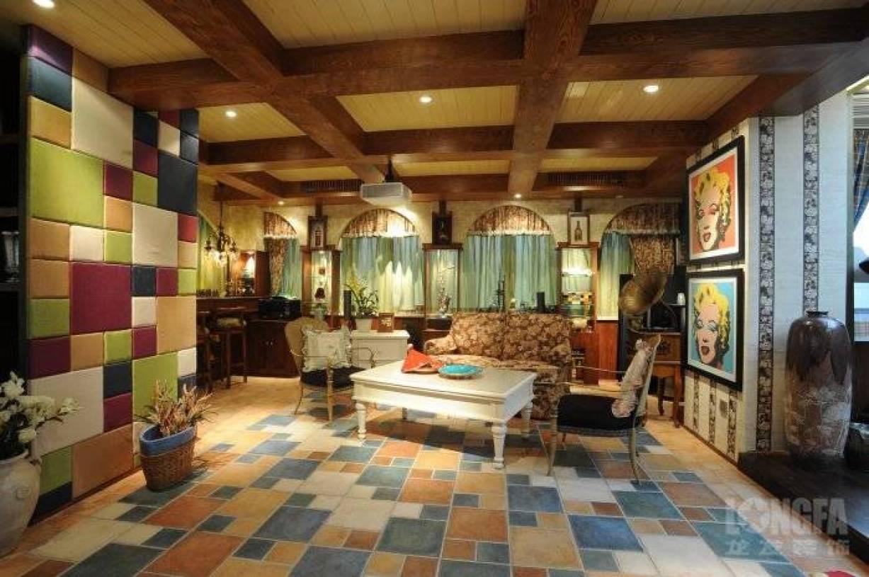 307m别墅美式田园风格客厅装修图片-美式田园风格茶几图片