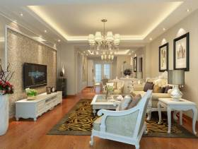 三居客厅侧面白色实木家具图片