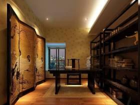 128㎡三居室新中式风格书房装修效果图-新中式风格书柜图片