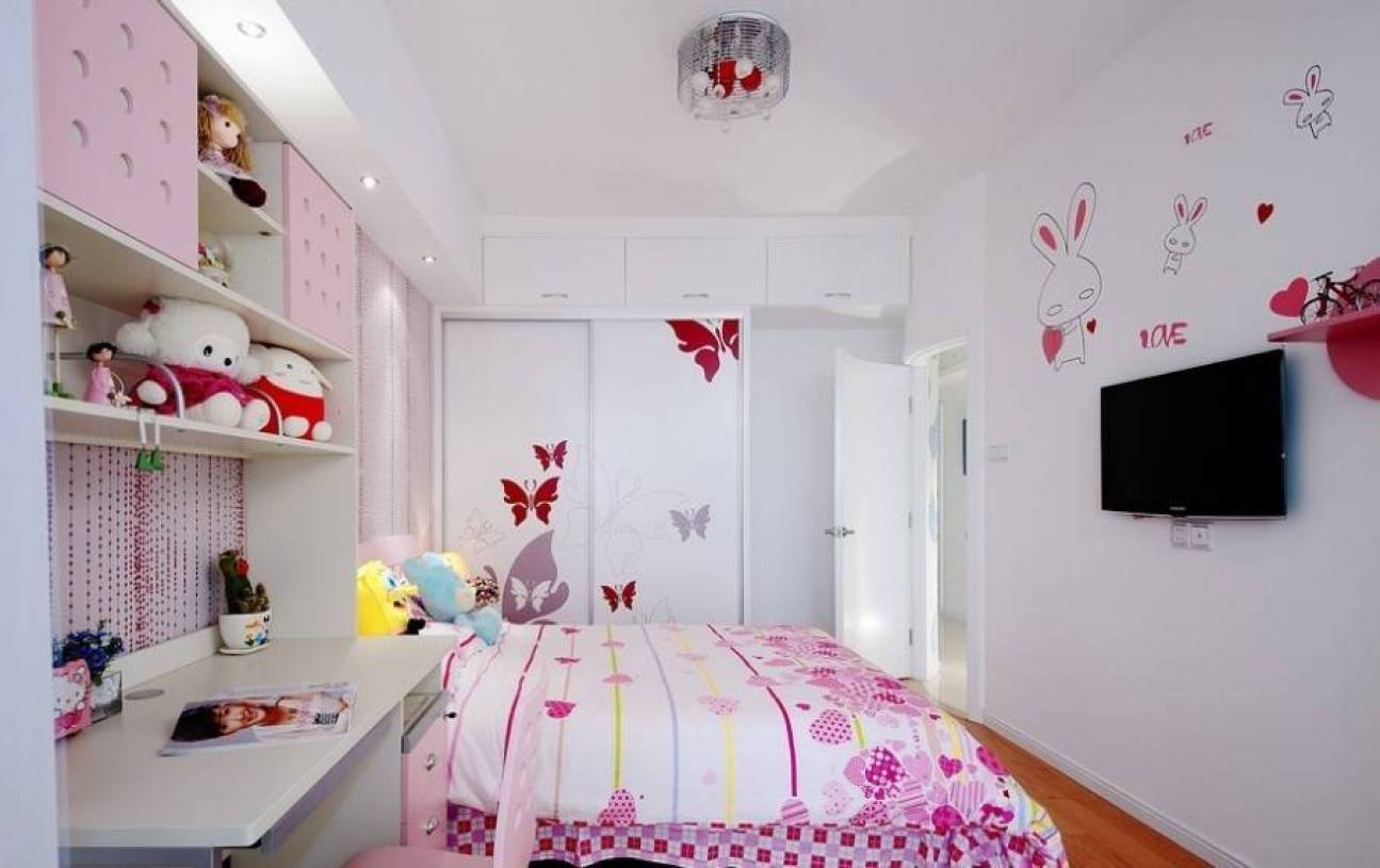 简约风格女孩儿童房间布置装修效果图-简约风格衣柜推