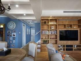 简欧风格客厅电视背景墙装修图片-简欧风格置物架图片