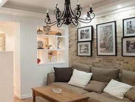 简约风格客厅沙发背景墙装修效果图-简约风格实木茶几图片