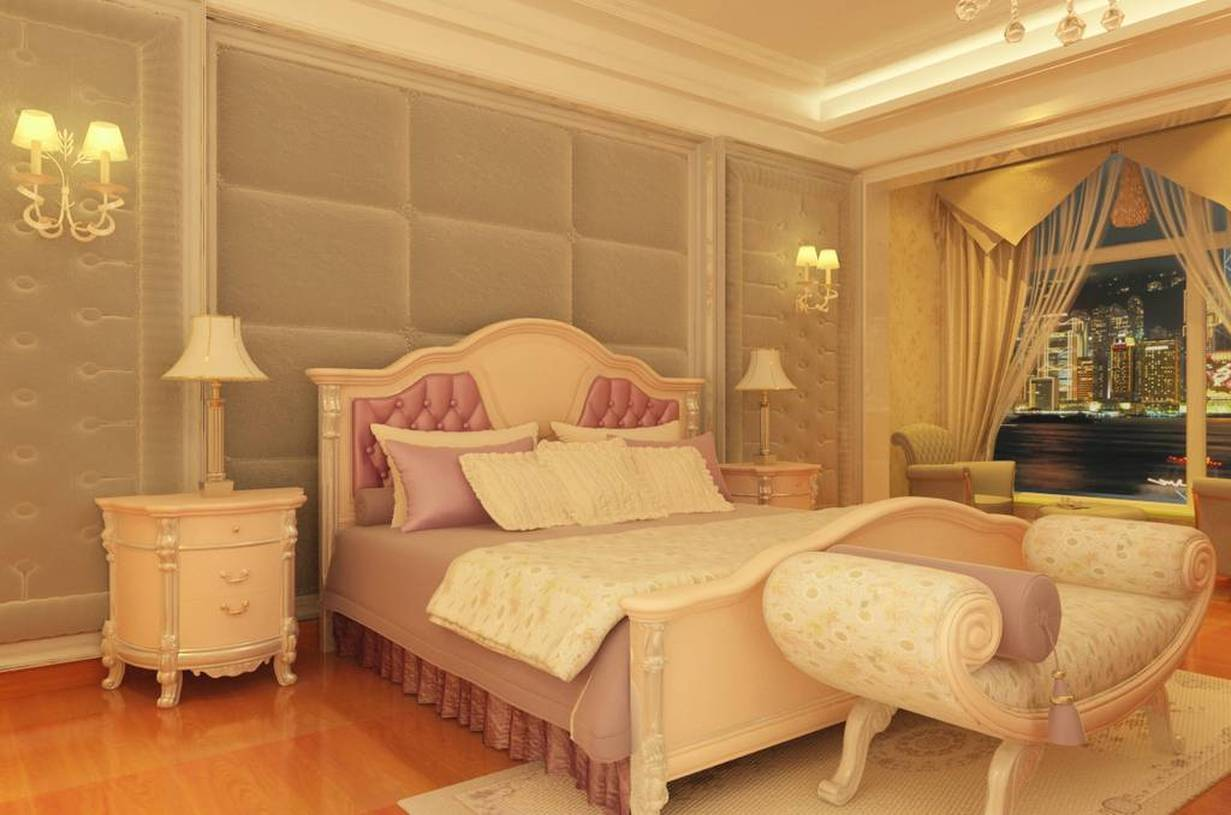 260㎡简欧风格卧室床头背景墙装修效果图-简欧风格床尾凳图片