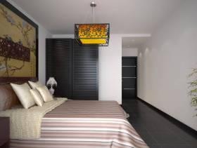 新中式风格卧室床头背景墙装修效果图-新中式风格实木衣柜图片