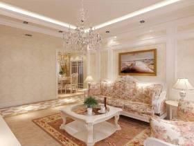 90㎡三居室欧式风格客厅沙发背景墙装修效果图-欧式风格客厅沙发图片