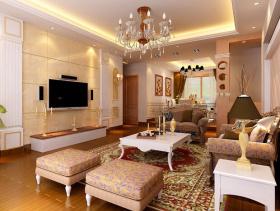 简欧风格客厅电视背景墙装修效果图-简欧风格茶几图片