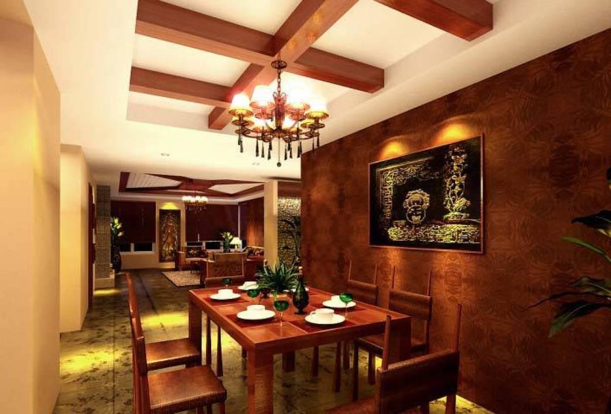 东南亚餐桌风格风格墙装修效果图-东南亚背景实木餐厅室内设计人才网图片