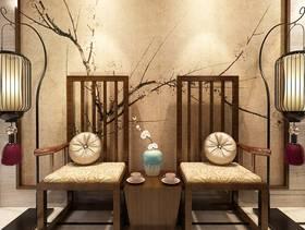 大户型新中式风格过道背景墙装修效果图-新中式风格椅凳图片
