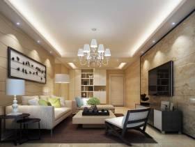 90㎡三居室简约风格客厅电视背景墙装修效果图-简约风格吊灯图片