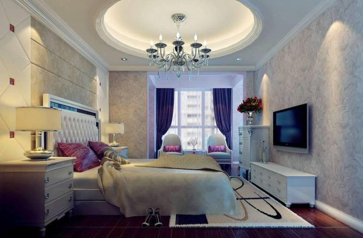 现代卧室圆形吊顶效果图