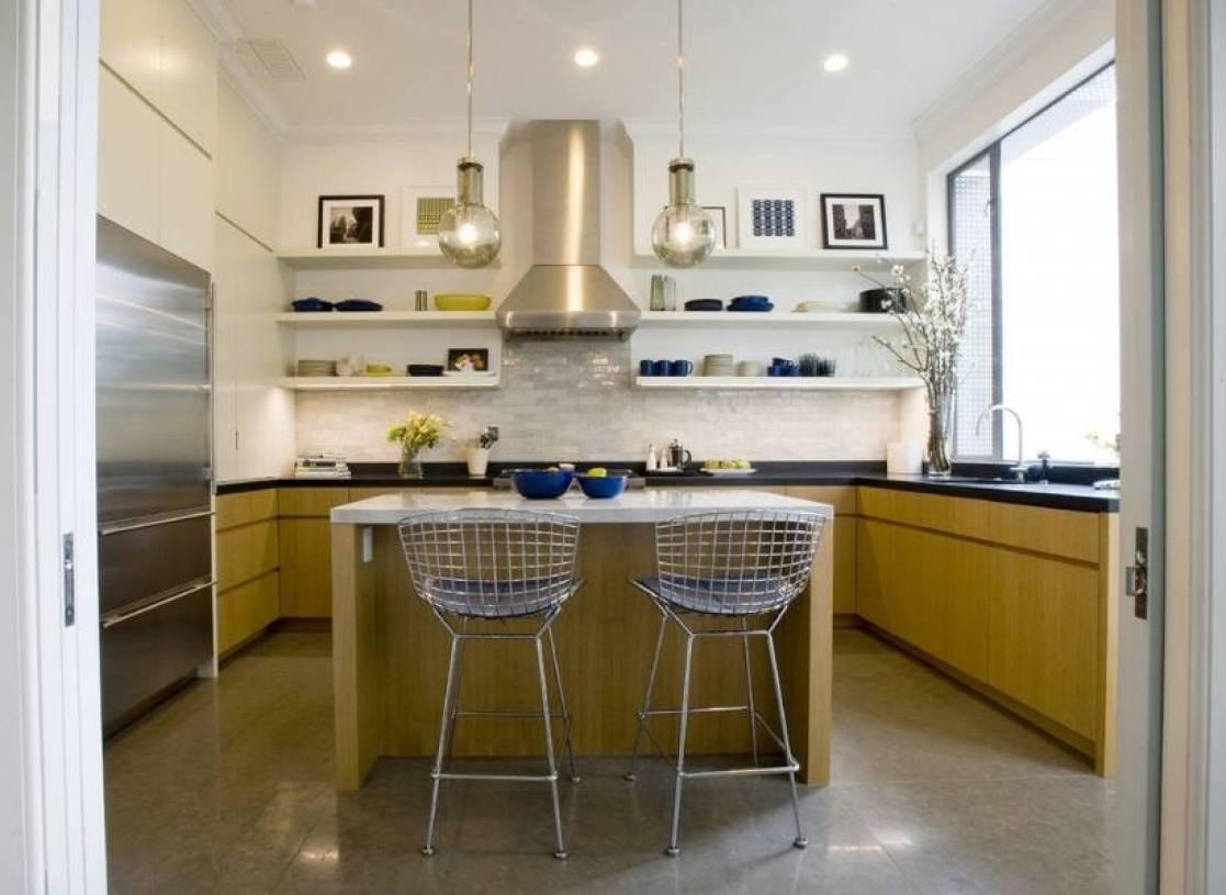 现代风格小厨房装修效果图-现代风格墙上置物架图片