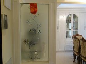 美式风格玄关玻璃隔断装修图片
