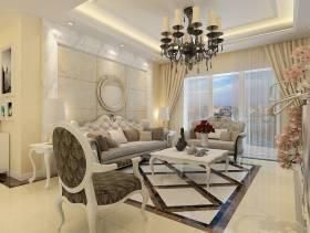 简欧风格三居室客厅沙发背景墙装修效果图-简欧风格沙发图片