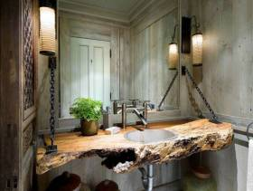 美式乡村风格小户型卫生间装修效果图-美式乡村风格面盆图片