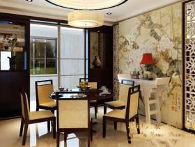 新中式三居室餐厅吊灯图片,新中式榆木餐桌椅图片